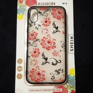 ad585a08bd I Phone X NWT Rubber Red Floral Rhinestone Case